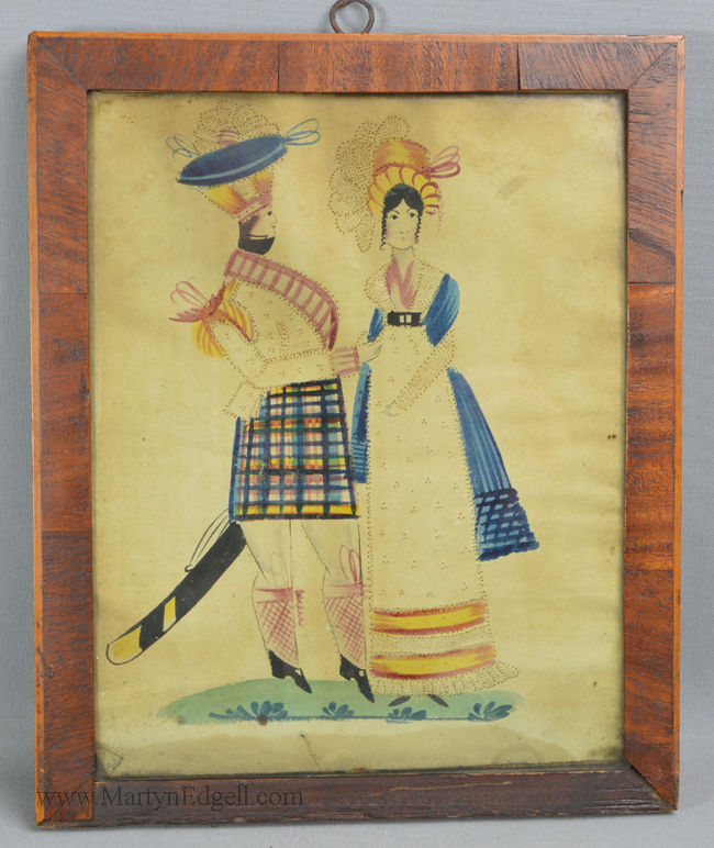 Antique Naive soldier watercolour