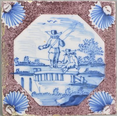 Antique pottery London delft tile