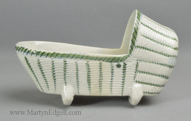 Antique pearlware pottery toy cradle