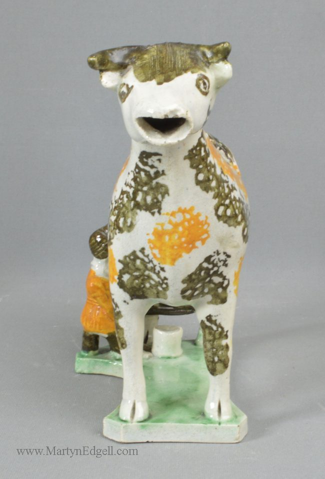 Antique pearlware pottery cow creamer