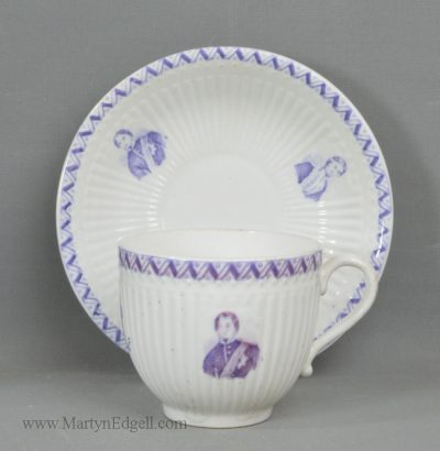 Antique porcelain commemorative cup & saucer