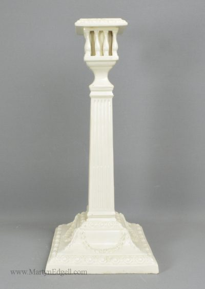 Antique creamware pottery candlestick