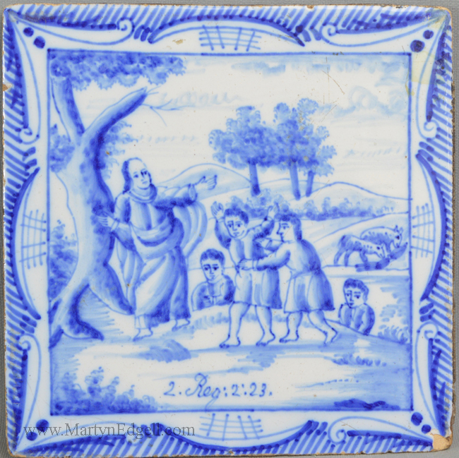 Antique pottery Dutch Delft tile