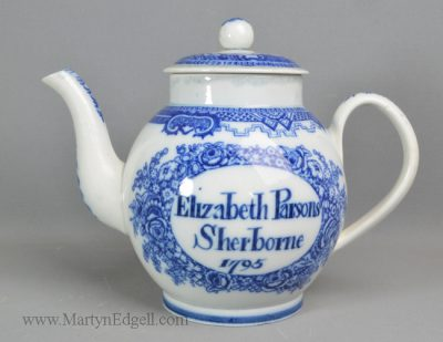 Antique pottery pearlware teapot