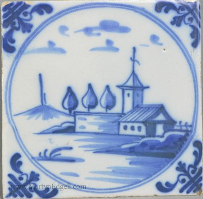 Antique pottery English delft tile