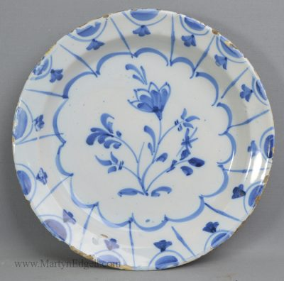 Antique pottery delft plate