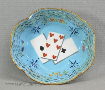 Antique Staffordshire enamel card tray