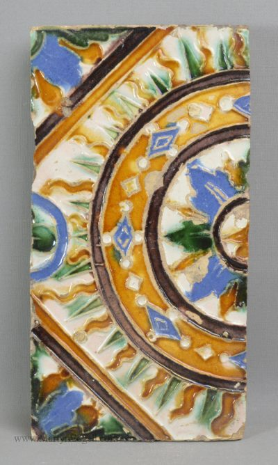 Antique pottery Spanish majolica tile