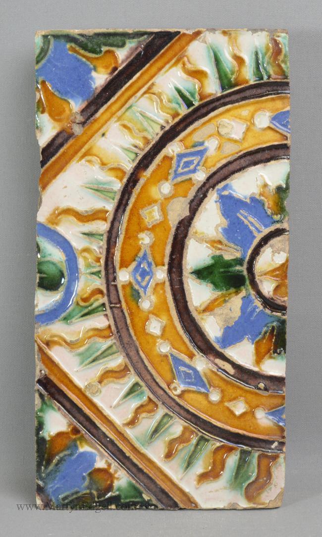 Antique pottery Spanish majolica tile
