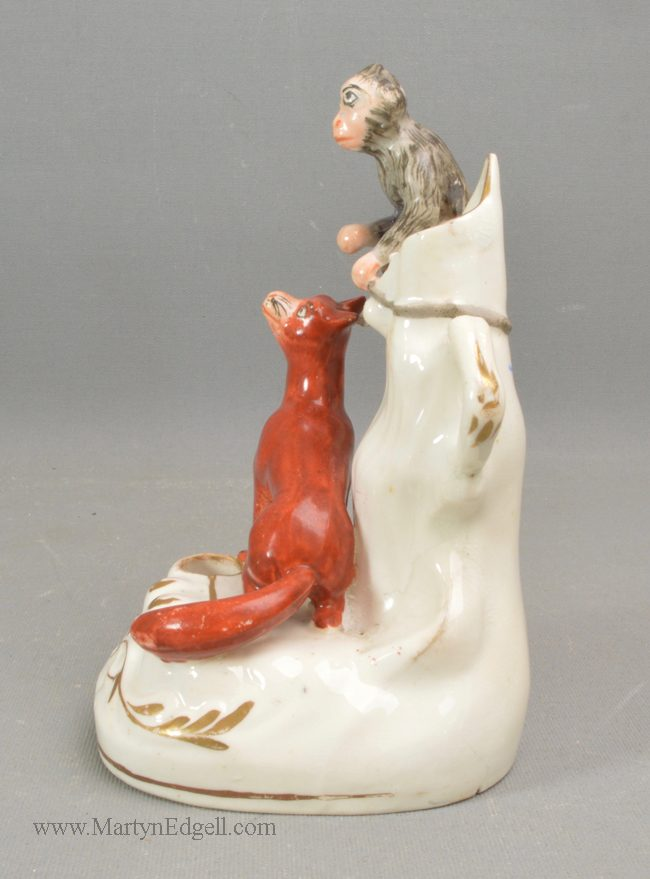 Antique Staffordshire porcelain inkwell