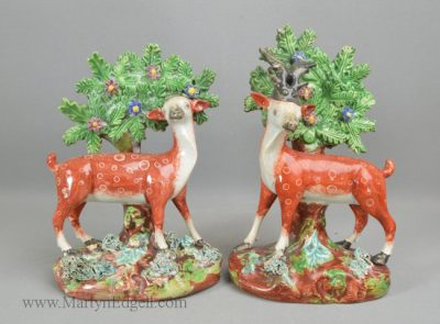 Antique Staffordshire pottery deer