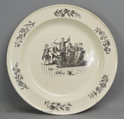 Antique pottery creamware plate