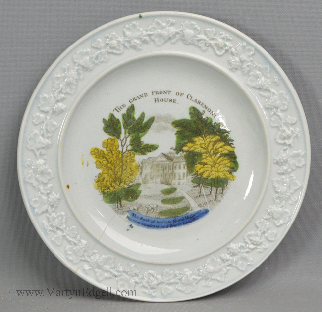 Antique pottery commemorative plate