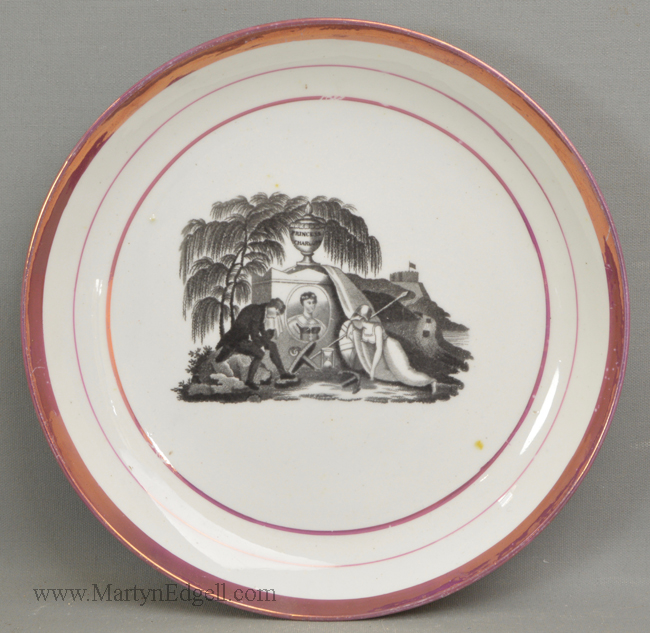 Antique porcelain commemorative saucerdish