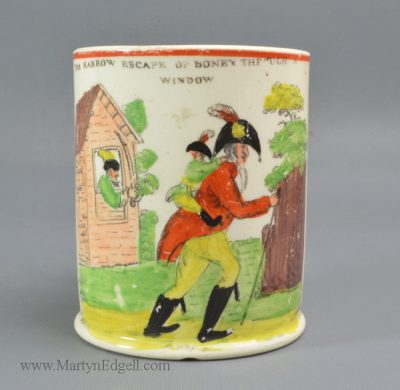 Antique commemorative pottery mug