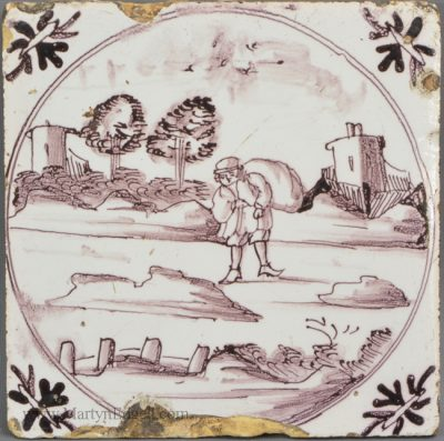 Antique pottery Bristol delft tile
