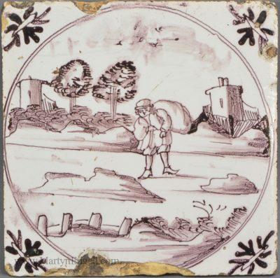 Antique pottery Bristol delft tile