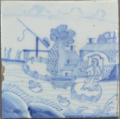 Antique pottery Liverpool delft tile