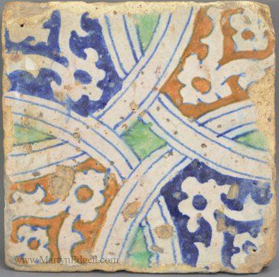 Antique pottery London delft floor tile