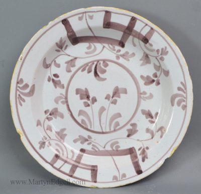 Antique pottery English delft plate