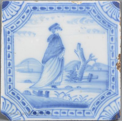 Antique pottery Liverpool delft tile
