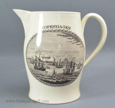 Antique creamware commemorative jug