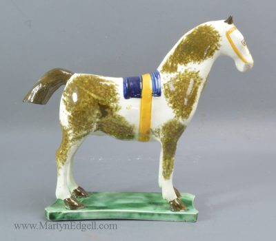 Antique pearlware pottery horse