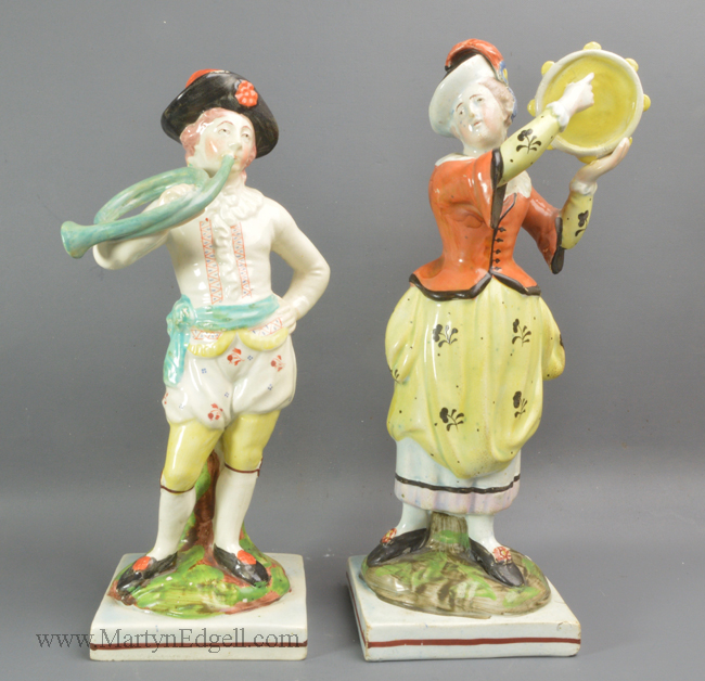 Antique Staffordshire pottery figures