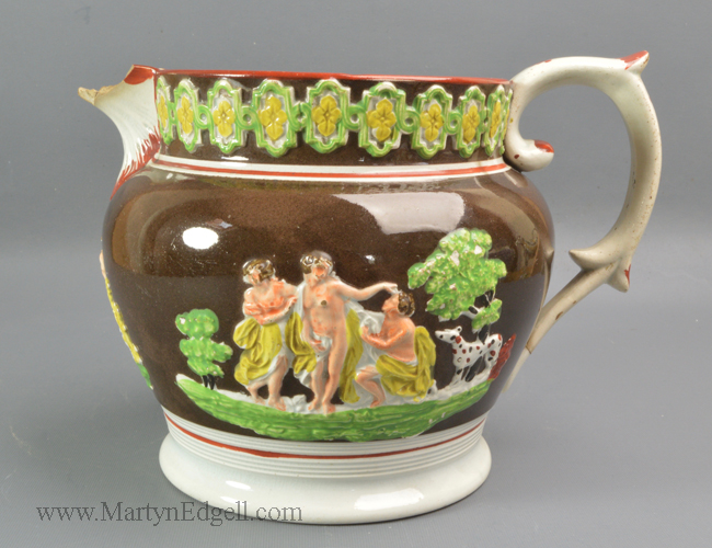 Antique pearlware pottery jug