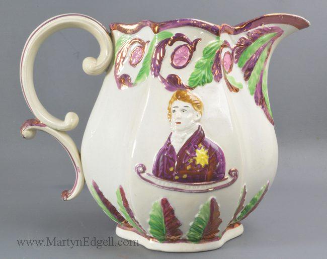 Antique pearlware commemorative jug