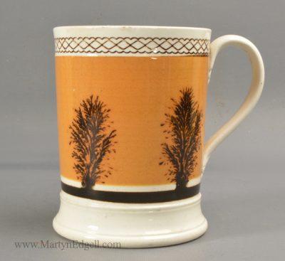 Antique mochaware pottery mug