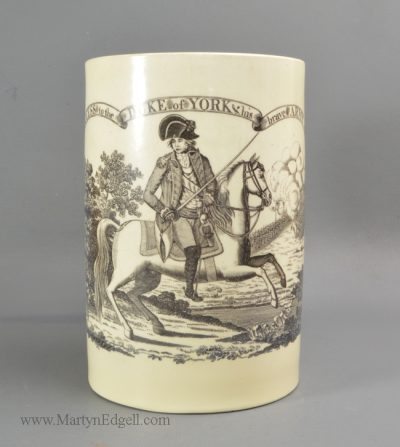 Antique creamware commemorative mug