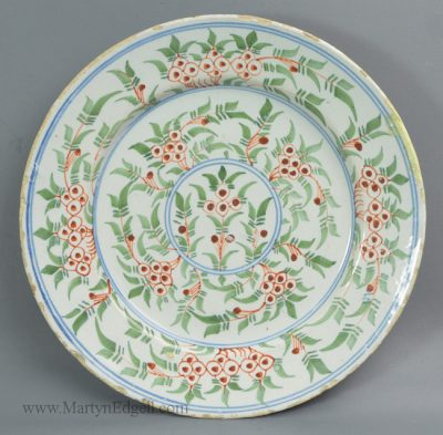 Antique pottery Bristol delft plate