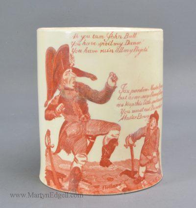 Antique pottery commemorative mug