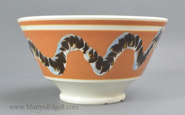 Antique pottery mochaware bowl