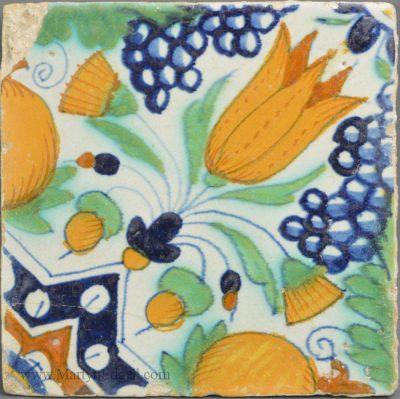 Antique Dutch English Deft tile