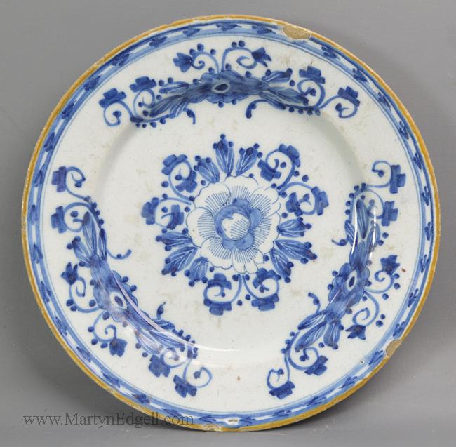 Antique pottery Dutch Delft plate