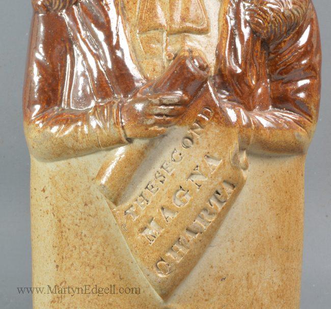 Antique saltglaze stoneware Reform flask