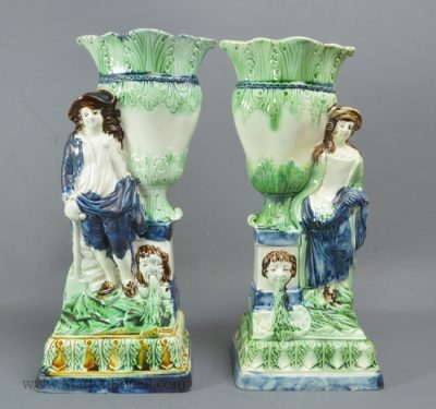 Pair Antique pearlware pottery figures