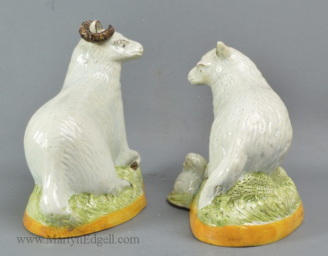 Antique pottery pearlware sheep