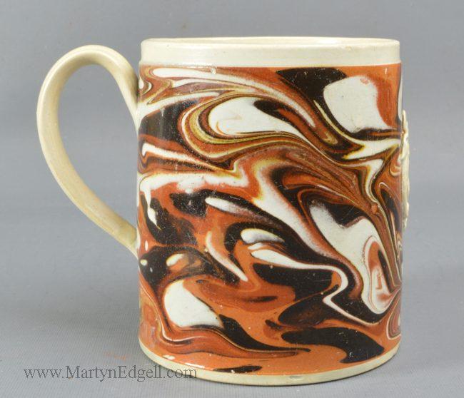 Antique mocha pottery mug