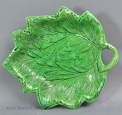 Antique pottery pickle dish leaf