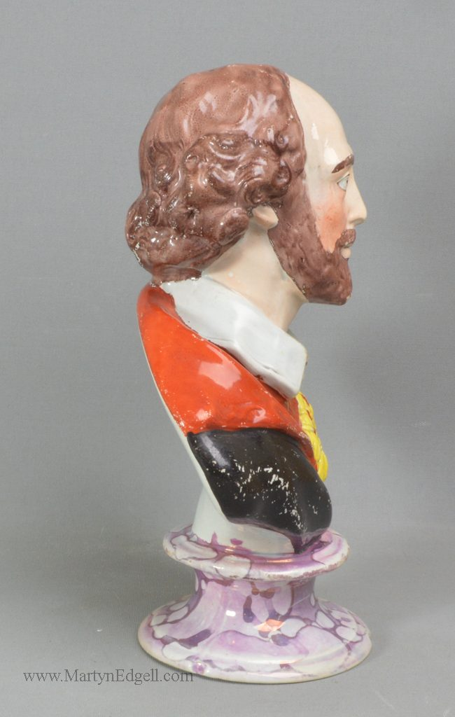 Antique pottery Shakespeare bust