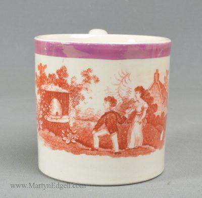 Antique creamware pottery child's mug