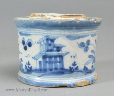 Antique Italian tin glazed inkwell