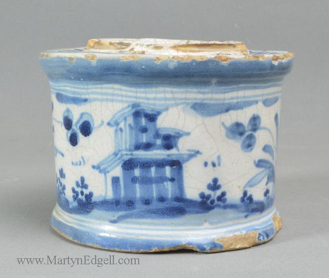 Antique Italian tin glazed inkwell