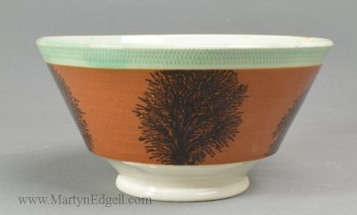 Antique pottery mochaware bowl