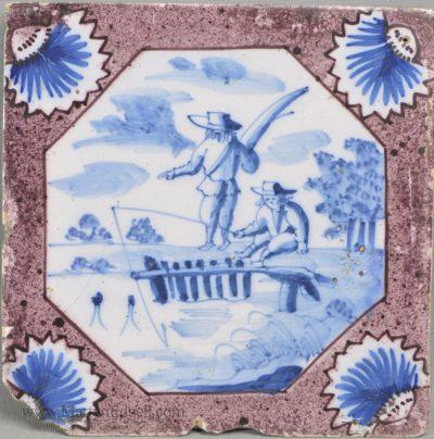 Antique pottery English delft tile