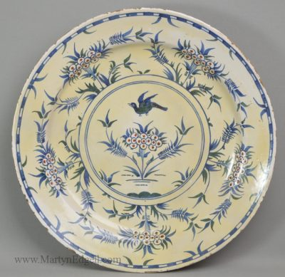 Antique pottery delftware charger