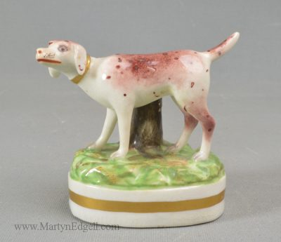 Antique Derby porcelain dog